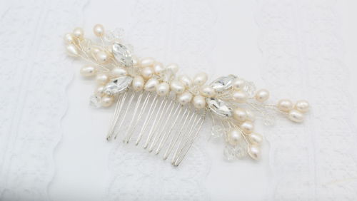 Grace Ivory Pearl Silver Hair Comb